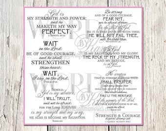 Strength & Courage Scripture Digital Word Art -- KJV Scripture Verses - Scripture Quotes - Instant Download