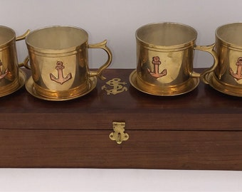 Set of 4 Brass Nautical Coffee or Tea Cups with Saucers