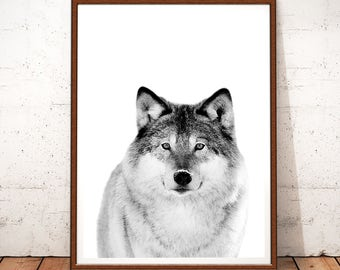 Wolf Print, Forest Animal, Woodlands Nursery Animal Wall Art, Wolf Poster, Kids Room Poster, Woodland Animals, Wolf Photography, Black White