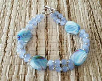 Womens bracelet pale blue lentil beads with round 4mm baby blue colored beads