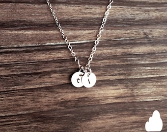 "Wholesale - Tiny Customized Sterling Silver Necklace 1/4"" disc - Hand Stamped Initial - Personalized Charm Gift Present The Lovely Raindrop"