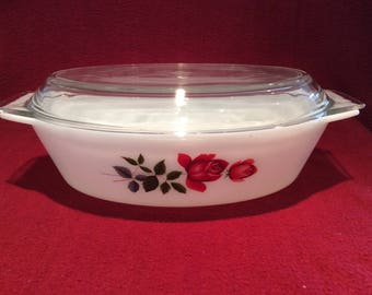 Pyrex JAJ June Rose 2.5 Pint Oval Casserole Dish circa 1960