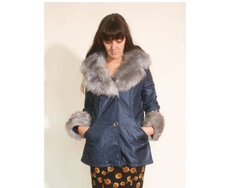 Vintage 1990s 70s inspired Faux Fur Navy and Gray Shiny Raincoat size S