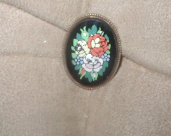 Antique Edwardian Handpainted Onyx Brooch