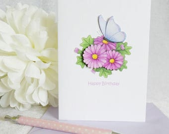 Blue Butterfly & Daisy Card