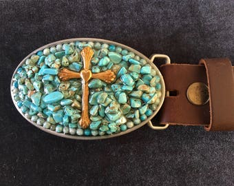 Turquoise colored belt buckle handmade oval brass cross