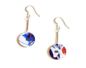 Vibrant Drop earrings, round blue earrings, colourful earrings, abstract art earrings, modernist earrings, dangle earrings, gift for her