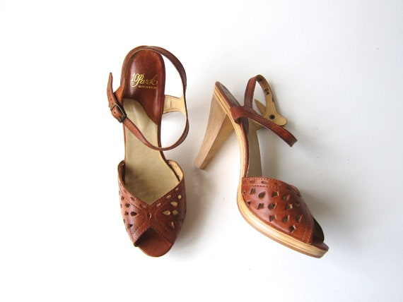 70s High Heel Wooden Sandals Leather Boho Pumps Vintage Summer Peep Toes Tall Wood Heels Hipster Disco Boho Womens 7.5 Narrow