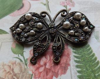 Butterfly pendant , charm , metal butterfly , bronze butterfly , bronze pendant, upcycled, pearls