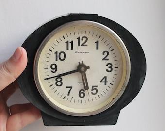 Shabby chic Alarm clock - Black alarm clock - Soviet clock 'Jantar' - Made in USSR - Vintage Alarm Clock - Working
