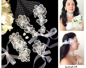 Bridal Wedding 4pc Set with White Flowers: Bandeau Birdcage Veil/Earrings/Bracelet/Necklace/Headpiece/Headband. Swarovski Crystals Pearls