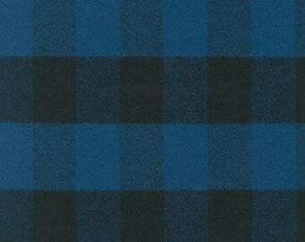 "Blue Mammoth Flannel Fabric 14876-4, Large Plaid Flannel, 1.5""x 2"" Plaid Fabric, Apparel fabric, Fabric by Yards, Robert Kaufman Fabrics"