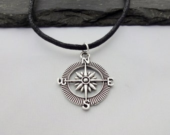 Compass Choker Necklace, Compass Choker, Travel Choker, Charm Necklace, Black Cord Necklace, Travel Necklace, Compass Gifts, Travel Gift