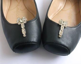 Stunning Vintage Art Deco Shoe Clips with White Rhinestones Gorgeous!  1920s Gatsby Shoe Clips, True Originals