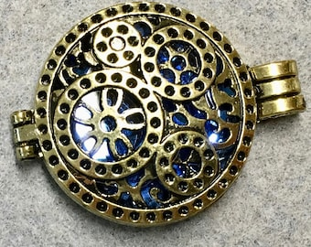 Locket with Sapphire Blue Glass Cabochon Pendant with Loop and Antique Silver Pattern 33mm x 44mm One Pendant C150C