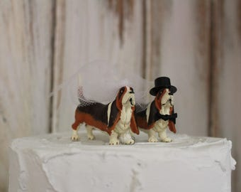 Dog Cake Topper, Dog Wedding Cake Topper, Basset Hound Animal Cake Topper, Dog Lover Cake Topper, Grooms Cake, Mans Best Friend Cake Topper