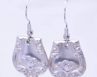 Vintage Earrings with Shell Pattern made from Antique Silver Plated Spoons