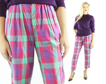 Vintage 80s Cropped Pants Plaid Capri High Waisted Pleated Trousers 1980s Medium M Utility