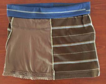 Brown & Blue T-Shirt Skirt, Size XL