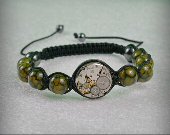 Mens  Steampunk bracelet of   Dragon Veins Agate Beads and vintage watch movement , bracelet Shamballa , Clockwork Bracelet