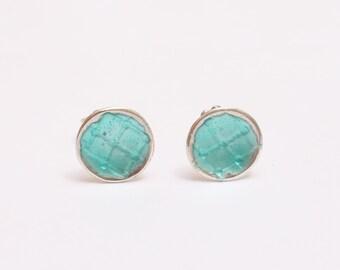 Teal enamel stud earrings, light blue post earrings, sterling silver, small studs, everyday earrings