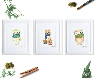 Woodland Animal Art Print Set of 3, Gender Neutral Woodland Nursery, Owl Art Print, Fox Watercolor, Animals in Scarves, Knitter Gift