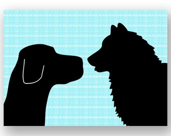Black Labrador With Malamute Dogs Print Face to face  - Fine art print, two dogs, dog decor, black silhouette, pet lover