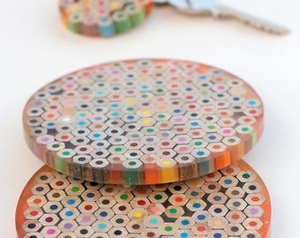 Bespoke pencil epoxy coasters