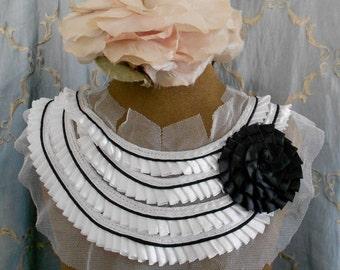 White Pleated Black Rosette Appliques