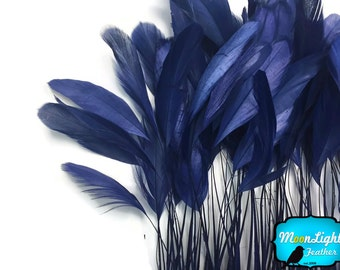 Stripped Feathers, 1 Dozen - NAVY BLUE Stripped Coque Tail Feathers : 3823