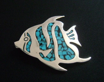 Taxco Mexico 925 Mexican Sterling Silver Inlaid Black & Blue Turquoise Inlay Figural Bramidae Pomfret Angel Fish Brooch Pin Sea Ocean Animal