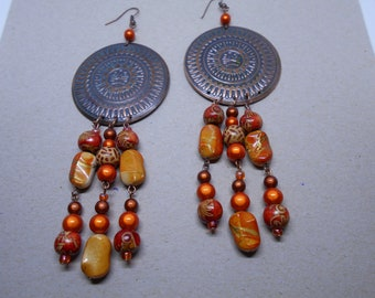 Country, copper and orange dangle earrings