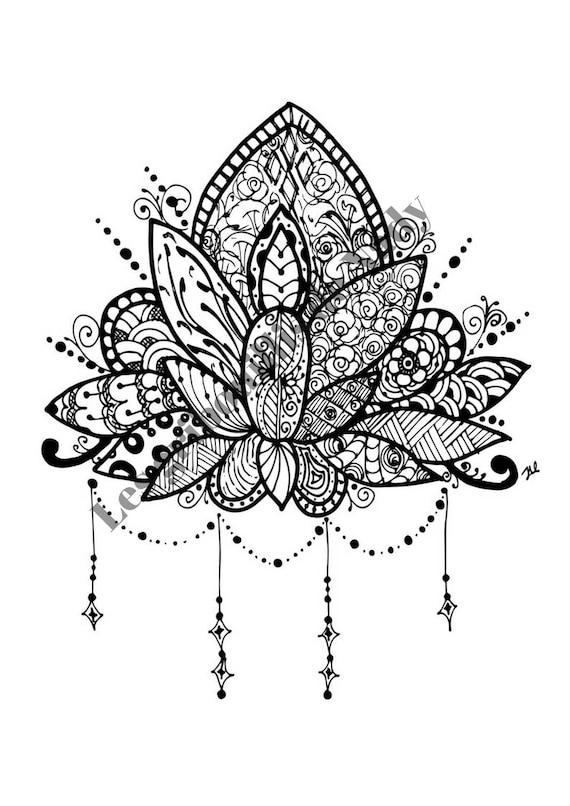 Items similar to Mandala Fleur de lotus à colorier et à imprimer ...