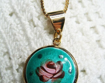 Vintage Pink Guilloche Rose Photo Locker Pendant