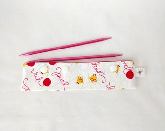 """Small DPN Holder White Chickens and Yarn Words DPN Circular Project Holder for needles & hooks up to 7-1/2"""" long S380"""
