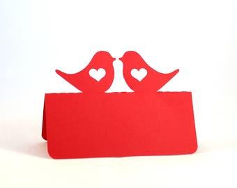 Love Bird Place Cards,  Love bird escort cards, Love birds with heart, Wedding place cards, outdoor wedding, love birds