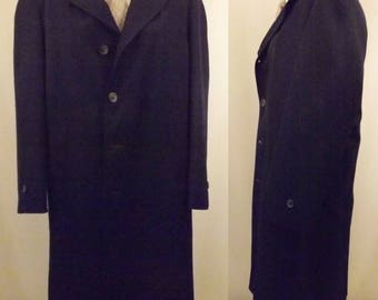60's Men's Botany 500 Navy Blue Lined Top Coat Size 40
