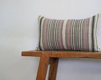 "12"" by 20"" Vintage Hemp Hmong Hill Tribe Lumbar Cushion Cover Ethnic Batik Thai"