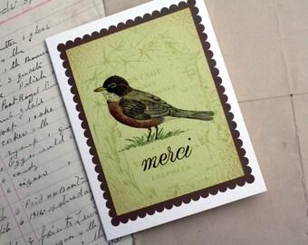 Merci Thank You Robin with Scallop Border on French Ephemera, Blank Inside Handmade Greeting Card