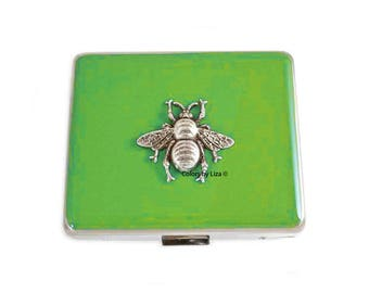 Weekly Pill Box Queen Bee Inlaid in Hand Painted Chartreuse Enamel Art Nouveau Inspired Personalized and Color Options