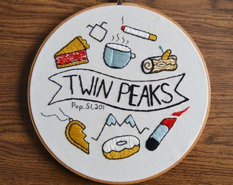 Twin Peaks Embroidered Wall Hanging Hoop