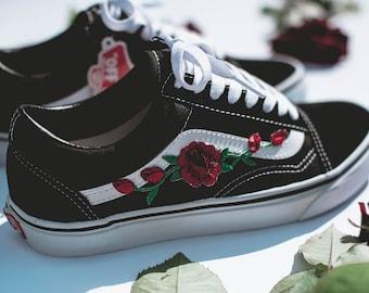 Vans Old Skool Custom - 'Rose Patch' - EUR 34.5 - 47 Unisex -  Rosen Stickerei Sk8 Hi Sneaker Tommy Hilfiger Ralph Lauren Gucci Schuh