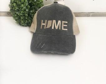 Indiana Home hat, mens hat, denim hat, home trucker hat, embroidered hat, indiana state hat, teacher gift, grey cap, baseball cap, grey hat
