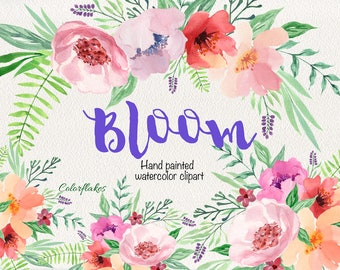 Bloom watercolor Clipart ,Floral wreaths clipart ,Floral Bouquets clipart,Spring,Wedding Clipart,spring flowers,Mother's Day Clipart