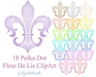 Fleur de lis clipart Fleur-de-lis Design elements Stylized lily flower Scrapbook embellishment fiordaliso Polka dot clipart
