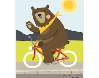 "Bear, art print, 8,3"" x 11,7"", poster, wall decoration, children's room, cycling bear, bike, bicycle, kids, animals, playroom"