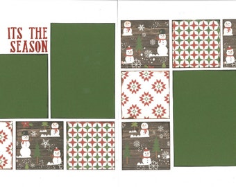 12x12 ITS THE SEASON scrapbook page kit, premade scrapbook, 12x12 premade scrapbook page, premade scrapbook pages, 12x12 scrapbook layout