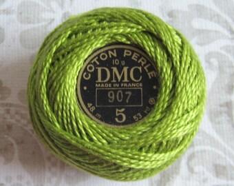 DMC Pearl Cotton Balls Size 5 - 907 Light Parrot Green
