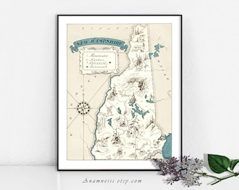 NEW HAMPSHIRE MAP - Instant Digital Download - printable vintage state picture map for framing, totes, pillows & cards - fun map wall art