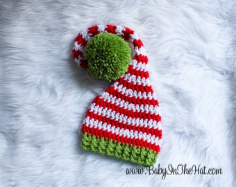 RTS Children's Pixie Elf Christmas Holiday Red White And Green Striped Crochet Hat 0-12 Months Ready To Ship